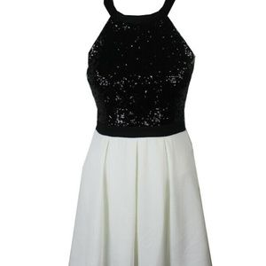 B. Darlin Sequined Fit & Flare Dress